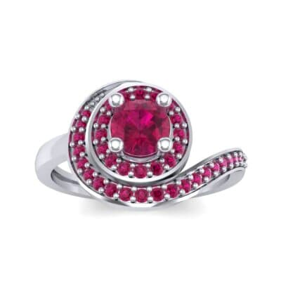 Asymmetrical Pave Bypass Ruby Engagement Ring (0.77 CTW) Top Dynamic View