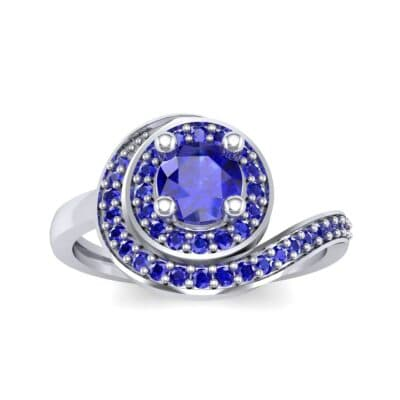 Asymmetrical Pave Bypass Blue Sapphire Engagement Ring (0.77 CTW) Top Dynamic View