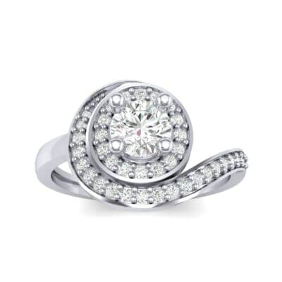 Asymmetrical Pave Bypass Diamond Engagement Ring (0.77 CTW) Top Dynamic View