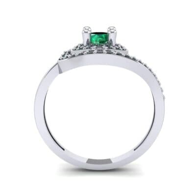 Asymmetrical Pave Bypass Emerald Engagement Ring (0.77 CTW) Side View