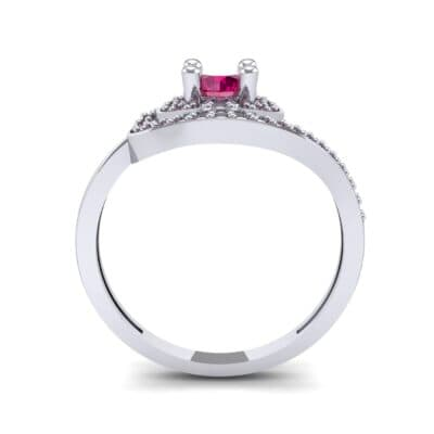 Asymmetrical Pave Bypass Ruby Engagement Ring (0.77 CTW) Side View