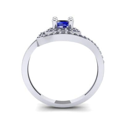 Asymmetrical Pave Bypass Blue Sapphire Engagement Ring (0.77 CTW) Side View