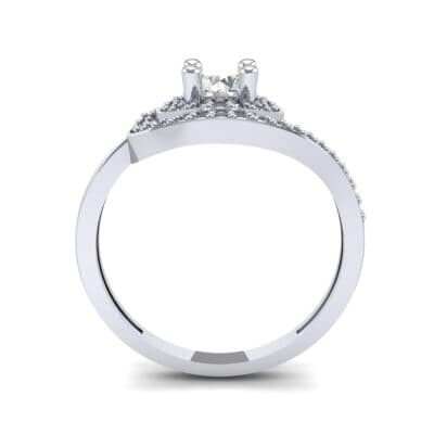 Asymmetrical Pave Bypass Diamond Engagement Ring (0.77 CTW) Side View