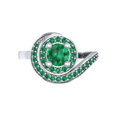 Asymmetrical Pave Bypass Emerald Engagement Ring (0.77 CTW) Top Flat View