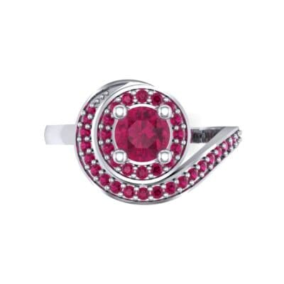 Asymmetrical Pave Bypass Ruby Engagement Ring (0.77 CTW) Top Flat View