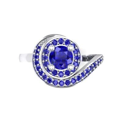 Asymmetrical Pave Bypass Blue Sapphire Engagement Ring (0.77 CTW) Top Flat View