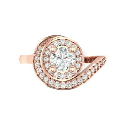 Asymmetrical Pave Bypass Diamond Engagement Ring (0.77 CTW) Top Flat View