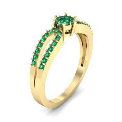 Pave Loop Shank Emerald Engagement Ring (0.29 CTW) Perspective View