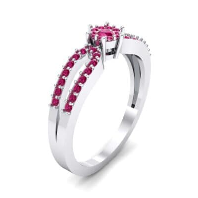 Pave Loop Shank Ruby Engagement Ring (0.29 CTW) Perspective View