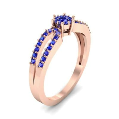 Pave Loop Shank Blue Sapphire Engagement Ring (0.29 CTW) Perspective View