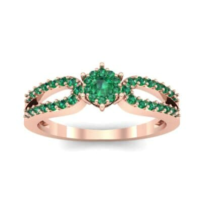 Pave Loop Shank Emerald Engagement Ring (0.29 CTW) Top Dynamic View