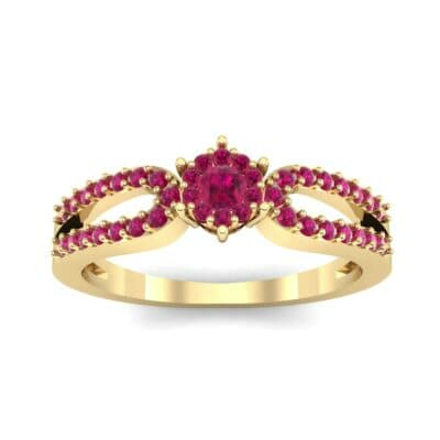 Pave Loop Shank Ruby Engagement Ring (0.29 CTW) Top Dynamic View