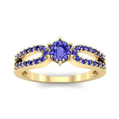 Pave Loop Shank Blue Sapphire Engagement Ring (0.29 CTW) Top Dynamic View