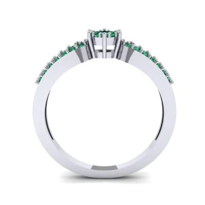 Pave Loop Shank Emerald Engagement Ring (0.29 CTW) Side View