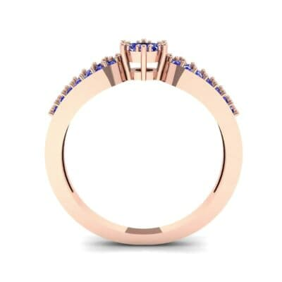 Pave Loop Shank Blue Sapphire Engagement Ring (0.29 CTW) Side View