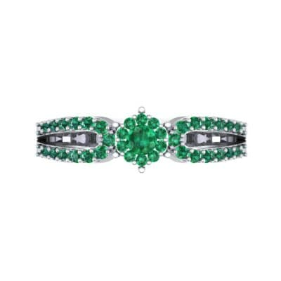 Pave Loop Shank Emerald Engagement Ring (0.29 CTW) Top Flat View