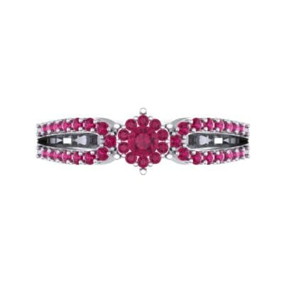 Pave Loop Shank Ruby Engagement Ring (0.29 CTW) Top Flat View