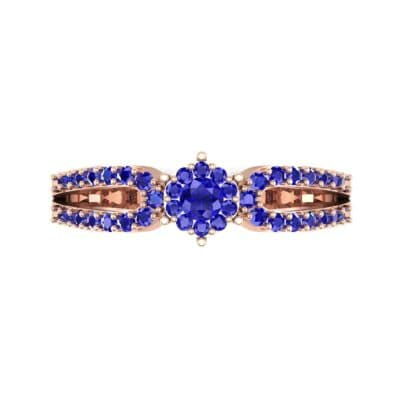 Pave Loop Shank Blue Sapphire Engagement Ring (0.29 CTW) Top Flat View