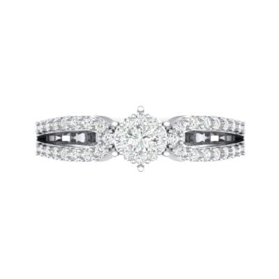 Pave Loop Shank Diamond Engagement Ring (0.29 CTW) Top Flat View