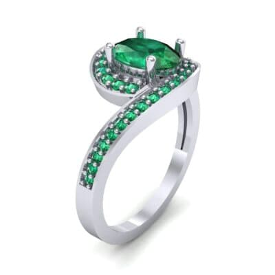 Oval Halo Bypass Emerald Engagement Ring (1 CTW)