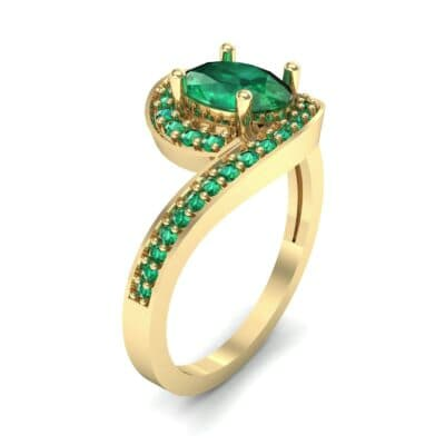 Oval Halo Bypass Emerald Engagement Ring (1 CTW) Perspective View