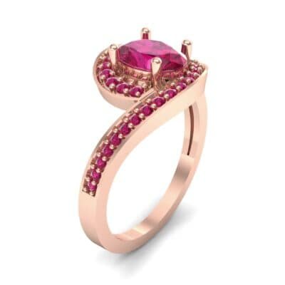 Oval Halo Bypass Ruby Engagement Ring (1 CTW) Perspective View