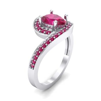 Oval Halo Bypass Ruby Engagement Ring (1 CTW)