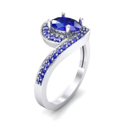 Oval Halo Bypass Blue Sapphire Engagement Ring (1 CTW)