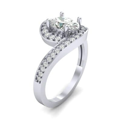 Oval Halo Bypass Diamond Engagement Ring (1 CTW)