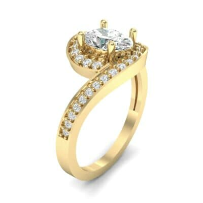 Oval Halo Bypass Diamond Engagement Ring (1 CTW) Perspective View