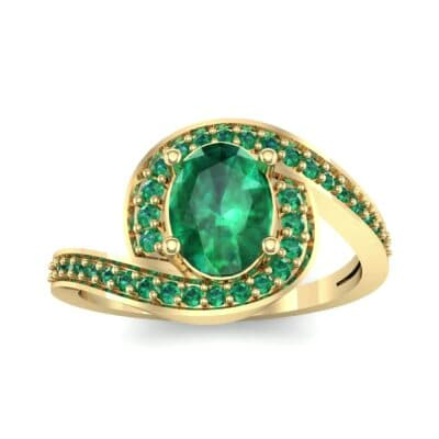 Oval Halo Bypass Emerald Engagement Ring (1 CTW) Top Dynamic View