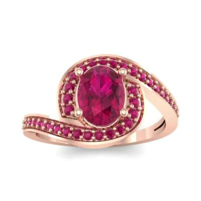 Oval Halo Bypass Ruby Engagement Ring (1 CTW) Top Dynamic View