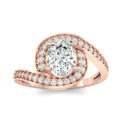 Oval Halo Bypass Diamond Engagement Ring (1 CTW) Top Dynamic View