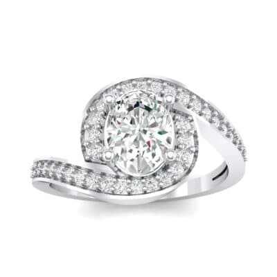 Oval Halo Bypass Crystal Engagement Ring (1 CTW) Top Dynamic View