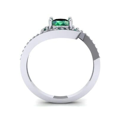 Oval Halo Bypass Emerald Engagement Ring (1 CTW) Side View