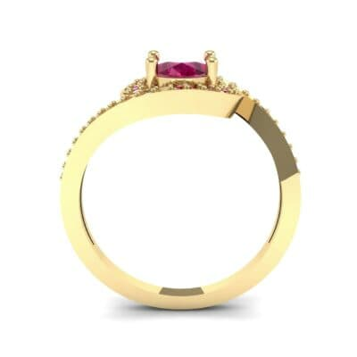 Oval Halo Bypass Ruby Engagement Ring (1 CTW) Side View