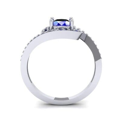 Oval Halo Bypass Blue Sapphire Engagement Ring (1 CTW) Side View