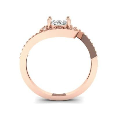Oval Halo Bypass Diamond Engagement Ring (1 CTW) Side View