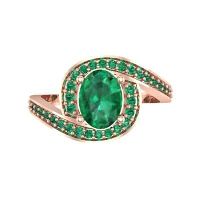 Oval Halo Bypass Emerald Engagement Ring (1 CTW) Top Flat View