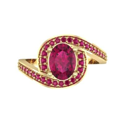Oval Halo Bypass Ruby Engagement Ring (1 CTW) Top Flat View