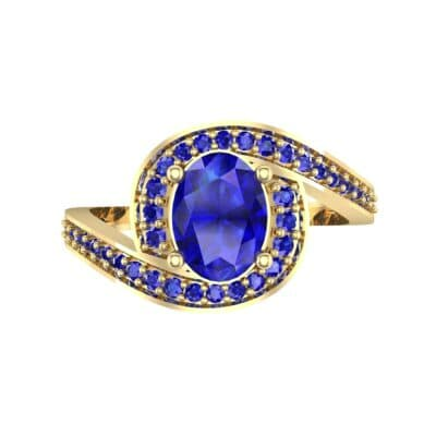 Oval Halo Bypass Blue Sapphire Engagement Ring (1 CTW) Top Flat View