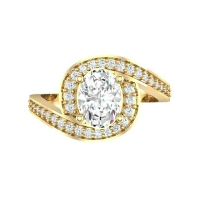Oval Halo Bypass Diamond Engagement Ring (1 CTW) Top Flat View