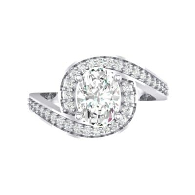 Oval Halo Bypass Crystal Engagement Ring (1 CTW) Top Flat View