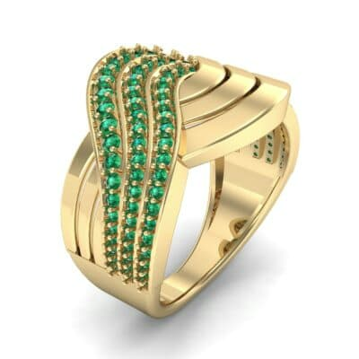 Half-Pave Harmony Emerald Ring (0.48 CTW) Perspective View