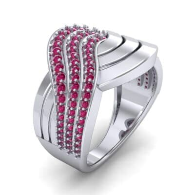 Half-Pave Harmony Ruby Ring (0.48 CTW) Perspective View