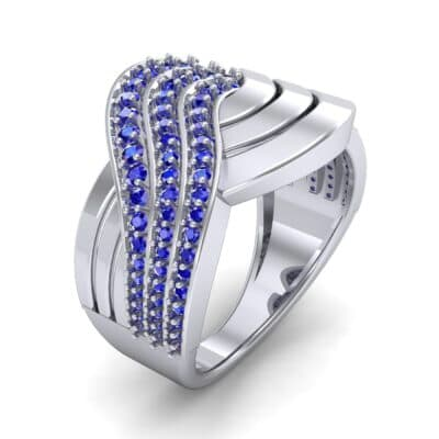 Half-Pave Harmony Blue Sapphire Ring (0.48 CTW) Perspective View