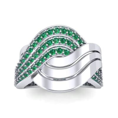 Half-Pave Harmony Emerald Ring (0.48 CTW) Top Dynamic View