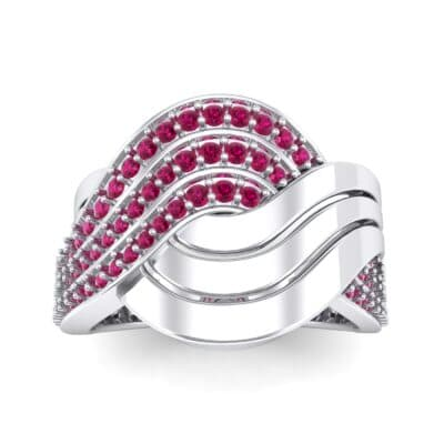 Half-Pave Harmony Ruby Ring (0.48 CTW) Top Dynamic View