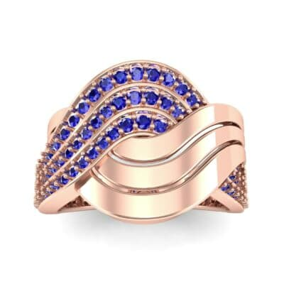 Half-Pave Harmony Blue Sapphire Ring (0.48 CTW) Top Dynamic View