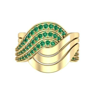 Half-Pave Harmony Emerald Ring (0.48 CTW) Top Flat View